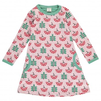 Kleid mit Taschen langarm elastisch mit Vogelbeeren