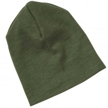 Wolle Seide Beanie oliv-grün