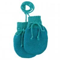 Baby Strickhandschuhe aus Schurwolle türkis