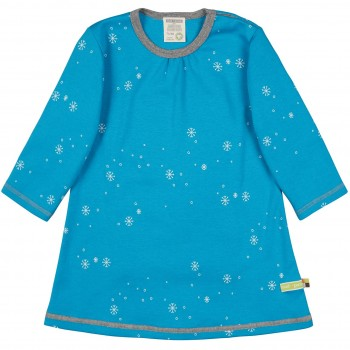 Kleid langarm Schneeflocken in türkis