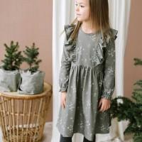 Hochwertiges Mädchen Kleid langarm oliv-grün