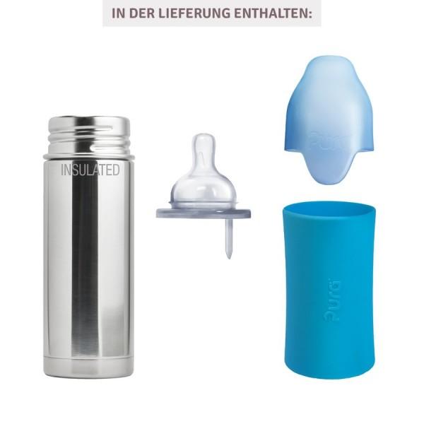 Thermo Babyflasche Lochgrösse mittel blau