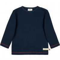 Shirt langarm Waffelstrick in dunkelblau