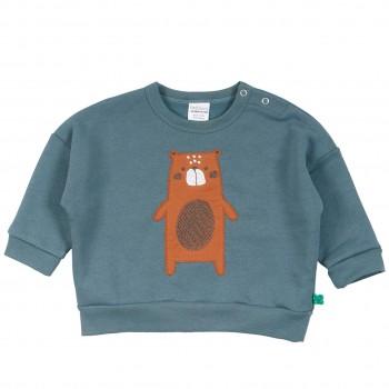 Sweatshirt mit Bär rauchblau
