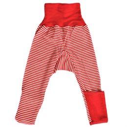 Mitwachsende Wolle Seide Hose rot gestreift Kratzschutz