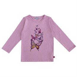 Schmetterling Druck Shirt langarm rosa