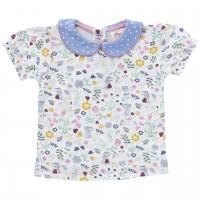 T-Shirt Blumen Kragen Punkte