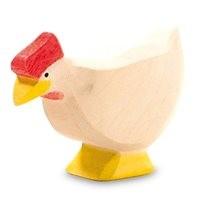 Huhn weiss Holzfigur 4 cm hoch