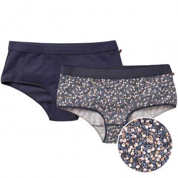 Doppelpack Damenpanty uni + Knospen blau