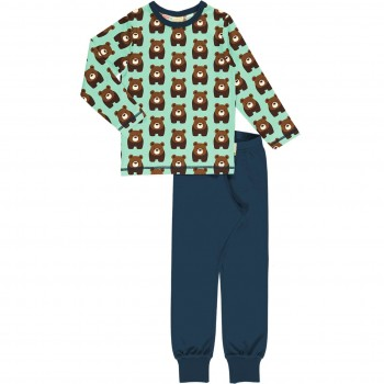 Bären Schlafanzug langarm türkis