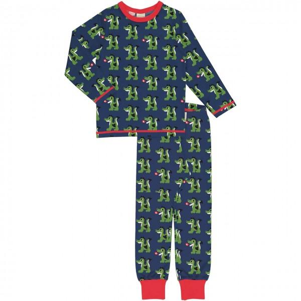 Schlafanzug langarm Drachen navy