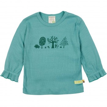 Rippshirt langarm grün mit Bäumen