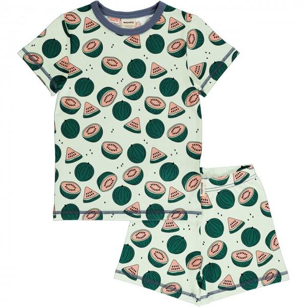 Kurzer Sommer Schlafanzug Wassermelonen grün