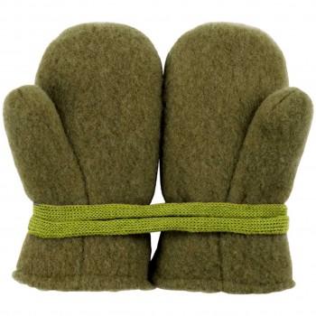 Moos-grün Woll Fleece Baby Fäustel