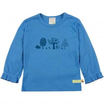 Rippshirt langarm blau mit Bäumen