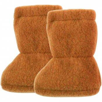 Wolle Babyschuhe als Socke in karamell-braun
