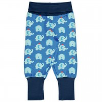Mitwachsende Krabbelhose Bündchen Elefanten blau
