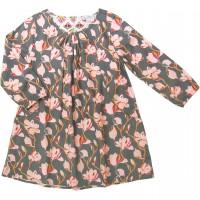 Flanellkleid langarm Magnolien rosa-schiefergrau