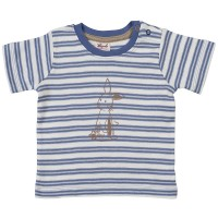 T-Shirt feine Rippqualität blau Hase