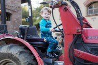 Strampler ohne Arm Traktor petrol