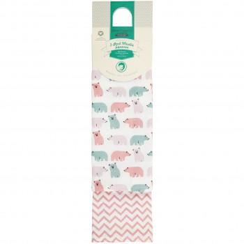 Mulltücher Doppelpack Eisbär 80 x 80 rosa
