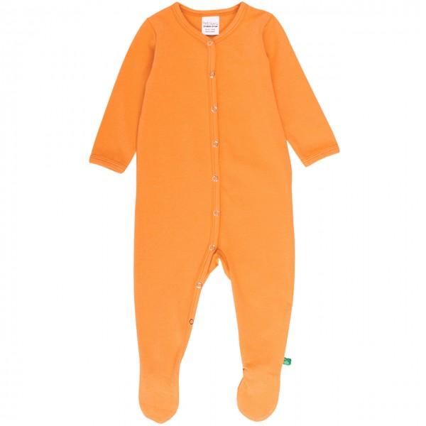 Strampler langarm mit Fuss in hellem orange