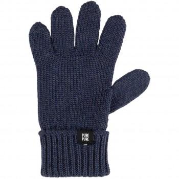 Fingerhandschuhe Umschlagbund Wolle Seide marine