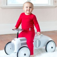 Mitwachsende Kinderhose mit softem Bund rot