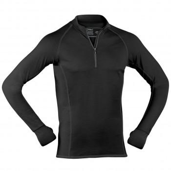 Wolle Seide Herren Zip-Shirt langarm schwarz Slim Fit