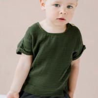 Musselin Shirt kurzarm waldgrün