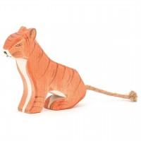 Tiger sitzend Holzfigur 10,5 cm hoch