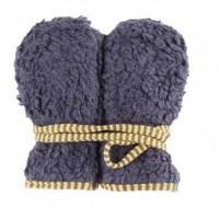 Teddyplüsch Kinder Handschuhe - anthrazit gelb