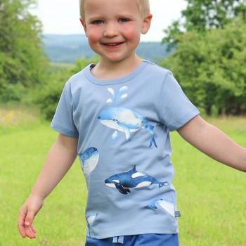 Edles T-Shirt Wal-Druck in hellblau