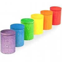 Cups 6 Becher mit Deckel Regenbogenfarben ab 12 Monaten