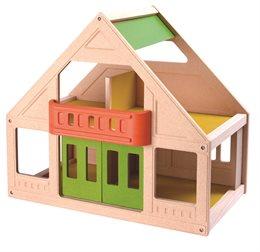 Ökologisches Puppenhaus mit Balkon und 4 Zimmer