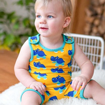 Sommer Strampler Nilpferd gelb