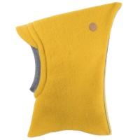 Wolle Schlupfmütze mit Schirm Reflekorstreifen lemon