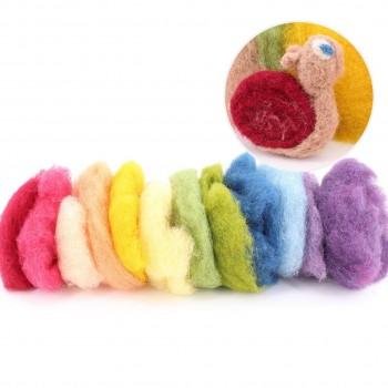Märchenwolle zum Trockenfilzen, 12 Farben gemischt 50 g