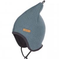 Blaue Fleece Mütze doppellagig