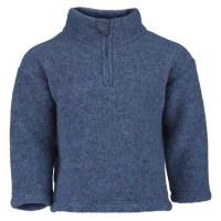 Woll Fleece Pullover mit Reißverschluss blau