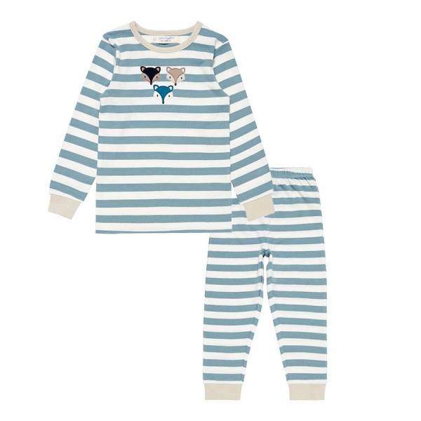 Bequemer Bio Schlafanzug Fuchs blau
