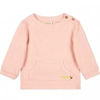 Strukturierter Pullover Kängurutasche in rosé