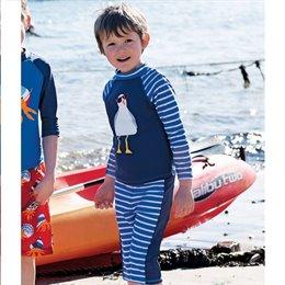 Badeanzug Shirt mit Bermuda Möwe Streifen
