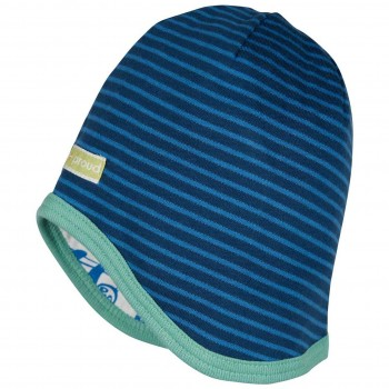 Wendemütze Ringel dunkelblau Faultiere blau