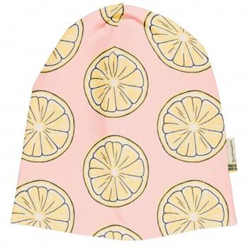 Leichte Beanie Zitronen hellrosa