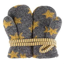 Robuste Schurwolle Babyhandschuhe mit Band Sterne