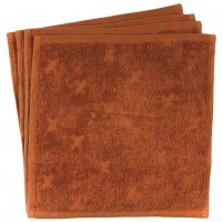 Frottee Waschlappen 4er-Pack in ocker braun