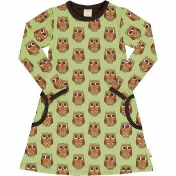Kleid mit Taschen langarm elastisch Eulen hellgrün matt