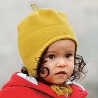Wolle Wintermütze breiter Ohrenschutz senf