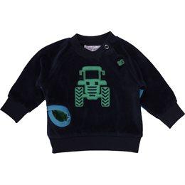 Warmer Velours Langarmshirt mit Traktor und Tasche